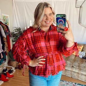 NWT free people red pink plaid flannel blouse